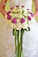 artificial wedding bouquets - Hot Beautiful Wedding Bridal Bouquet Decorations Perfect Wedding Favors Hand Holding Purple Flower Artificial Flowers Adornment Silk Cheap