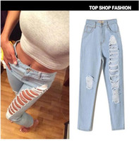 Wholesale 2016 women straight jeans hole Roll up Cross Haren cotton trousers casual wearing ripped knee Denim Pants plus size