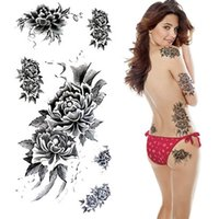 Wholesale Small Black and White Tattoos Stickers Waterproof Temporary Small Tattoo Women Shoulder Chest Exotic Flower Tattoo YM X228