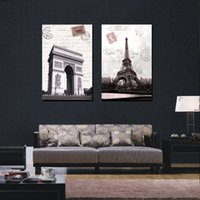 art deco architecture - 2 Piece Wall Art Europe Architecture Paris Pure hand painted Oil painting On Canvas Art Deco For home decoration P