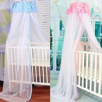 Wholesale Baby mosquito net Palace style bow infant mosquiteiro Kids princess baby bed mosquito nets for any size beds with bracket Pink Blue