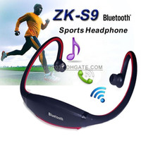 Wholesale S9 Bluetooth Headset Wireless Headphone Handsfree Earphone Stereo Ear Hook Sport Neckband MircoSD TF MP3 Player for iPhone Samsung S6 LG