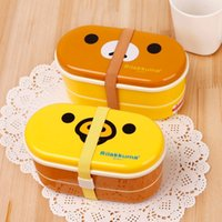 Wholesale Hot Plastic Box Double Layer Yellow Chicken Bento With Free Chopsticks Kids Lunch Box