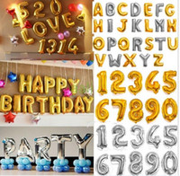 Wholesale 40 quot Large Gold Silver Alphabet A Z foil Letters number Balloons New Year Birthday Party Wedding Decoration love Balloon wholesales DHL