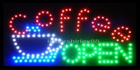 led neon open sign - New arriving LED coffee open Neon sign lights size inch indoor advertising led display