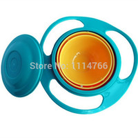Wholesale 1PC High Quality Creative Fantastic and Practical UFO Gyroscope Kids Bowl Never spill food Kids Bowl FZ2040 ZIO3