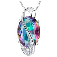 amethyst pendents - Collier Sautoir Long Promotion Discount Cheap Silver Necklaces Pendents for Wedding Pendant Multicolour Oval Stone N1142