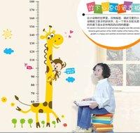 NOUVEAU Design Haute qualité 90 * 180cm 170cm / 66inch chambre des enfants Hauteur Graphique girafe Cartoon Wall Sticker stikkers Décor pour enfants Livraison gratuite