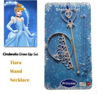 Wholesale Fashion kids girls cinderella jewelry set Hot children cartoon cinderella tiara wand necklace dress up jewelry set for party D367