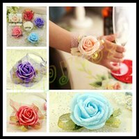 Cheap woman wedding handmade bridal wrist flower bridesmaid simulation rose flower wrist hand lady wrist flower sisters flower