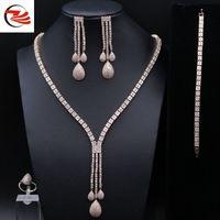genuine diamond jewelry - Wedding gift Micro Pave zircon luxury suite sets CZ Diamond for Women Engagement Jewelry Forlove Real Pure Genuine