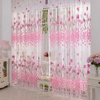 Wholesale Hot Fashion Tulip Flower Sheer Print Room Window Curtain Voile Panel Divide Screen Home Decoration