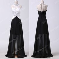 Sheath/Column black and white evening dresses - New Beaded Halter Long Black and White Evening Dresses Backless Chiffon Formal Prom Party Gowns CL6285