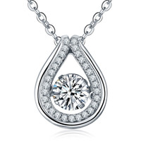 Wholesale Dancing Style Rhodium Plated Classical Jewelry Sterling Silver Pendant Necklaces With Cubic Zirconia For Women s Engagement DP41320A
