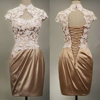Reference Images Satin High Neck Charming 2014 Homecoming Dresses High Neck Sheath Keyhole Lace Applique Satin Corset Mini Length Cap Sleeves Short Prom Dresses dhyz 04