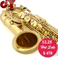 alto saxophone hard case - Professional new Alto saxophone JINYIN JYAS G E Flat Electrophoresis Gold Saxophone with Bakelite mouthpiece and hard case