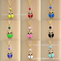 amethyst owl - New Arrival Vintage Owl Necklaces Mixed Rhinestone Owl Pendant Necklaces Leather Chain Cute Animal Jewelry Personalized Jewelry