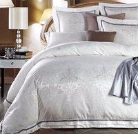 al por mayor fundas de almohada reina blanca-Jacquard Lujo juegos de sábanas blancas, 100% algodón reina rey homenaje seda, textiles para el hogar de la vendimia de almohadas ropa de cama cubierta de la caja del edredón