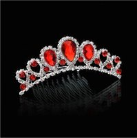 bridal hair ornament - 2015 hot Top Quality tiara comb Beautiful Queen tiaras crowns wedding accesso Bridal Jewelry Red Crystal Hair Ornaments luxury bridal tiara