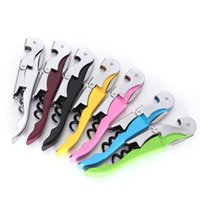 Wholesale 2015 New Arrival High Quality Soft Velvet Touch Waiters Double Hinge Corkscrew Wine Key Bottle Opener With Plastic Handle