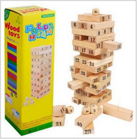 wooden board - Jenga Classic Game Family Board Game Blocks Dices Stacking Tumbling Tower jenga folds high children s Wooden toys Building block game