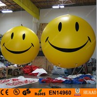 Wholesale m ft Yellow Smiling Face Inflatable Balloon Sky Balloon Helium Balloon with Double Sided Printing