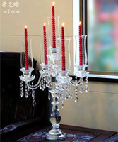 Wholesale high end design wedding candelabra crystal crafts luxury Candlestick Home Decor Candle Holders