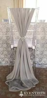 ruched chair covers - 2016 Crystal Chair Bows Sash for Weddings Crystal Ruched Chiffon Delicate Wedding Decorations Chair Covers Chair Sashes Wedding Accessories