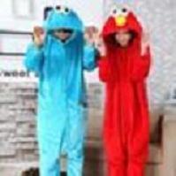 adult elmo onesie - Sesame StAdult Unisex Onesie Hoodie Long Sleeve Cosplay Pajamas Street Elmo cookie monster Costume Adult Romper Jumpsuit