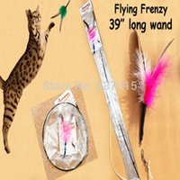 Wholesale New Flying Frenzy Interactive Cat Pet Toy Single Rod One Feather Attachment
