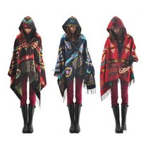 cape coat plus size - Women cloak poncho cape coat plus size hooded bohemia warm loose outwear wool blend ethnic style print blanket shawl coat