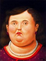 artist profiles - Fernando Botero decoration oil painting woman in profile famous artist reproduction
