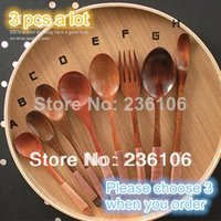 Wholesale Japanese style zakka coffee wooden spoon fork wood tableware chinese lacquer dark color dinnerware series