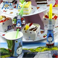 Birthday   2015 kid Birthday party banners cup cap eyemask plates Gift bag paper napkin straw horn fork Thomas theme party supplies set TOPB3316 30set