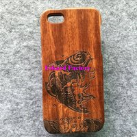 apple splash - For iPhone Cases Genuine Real Rosewood Wooden Back Cover Hard Shell Housing For iPhone iPhone S Plus Cases Fish Big Splash