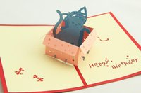 Cheap Greenfox Birthday card little cat box Invitations Delicacy Gift Handmade Creative 3D Cards Pop UP Gift Free Shipping 3DHK035