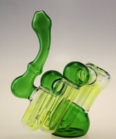 Wholesale PRODUCER GLASS HAND BUBBLER GREEN BLACK BLUE COLORS CHAMBER