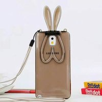 adorable rabbits - Adorable D Bunny Rabbit Ears Stand Transparent Soft TPU Case Cover For Samsung Galaxy Note N9100 Transparent Cord for Belt MOQ