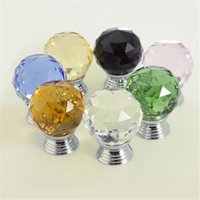 Cheap 30mm Multicolor Choices Door Drawer Pull Handle Diamond Wardrobe Knobs Crystal Glass Alloy Cabinet Drop Cabinet Furniture Screw