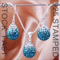aquamarine drop earrings - Fast Ship Austrian Crystal Water Drop Necklace Earring Gift Set Aquamarine Gradient Sterling Silver Shamballa Jewelry Set