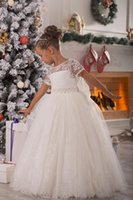Wholesale White Christmas Flowergirl Dresses Short Sleeve Lace Ball Gowns for Wedding Ruched Lovely Bow Sash Princess Evening girl Pageant Dress