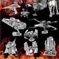 Wholesale Star Wars D Metal Puzzle Assemble DIY AT AT R2D2 Tie X wing Fighter Millennium Falcon Model Toys Gift for Children