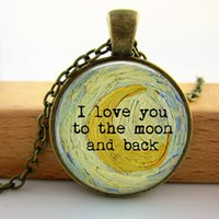 american impressionism - R0023 Crescent Moon detail by Vincent Van Gogh I love you to the moon and back Pendant Necklace Impressionism
