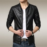 Wholesale 2016 New winter micro collar Men stand collar leather jacket casual Slim glossy leather Jacket Youth leather coats