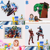 Wholesale The Avengers Super Heroes D Wall Sticker Decals Cartoon Iron Man Hulk Art Poster Wallpaper Home Decoration Kids Rooms Decor Wallpaper