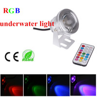 Wholesale 10W Waterproof IP68 RGB V LED Underwater Lights with Remote Controller for Fountain Swiming Pool fishing boats