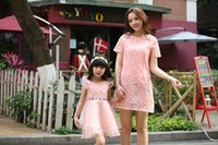 Wholesale Mother And Daughter Clothes Summer Dresses Girls Lace Tulle Dress Family Dress Mom Baby Clothing Kids Short Sleeve Princess Dress Skirts