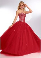 Cheap High Fashion Red Quinceanera Dresses Ball Gowns Tulle Sweetheart Corset Back Beaded Sequin Full Length Party Dresses