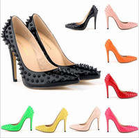 Wholesale 2015 fashion sexy rivets women high heels pumps red bottom sole pumps thin heels pumps pointed toe rivet high heels pump shoes