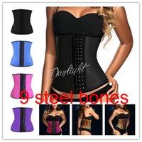 Waist Cinchers latex corset - Latex Waist Cincher Steel Boned Waist Trainer Rubber Latex Corset Deportiva Sport Bustiers Slimming Body Shaper Asolutely Top Quality